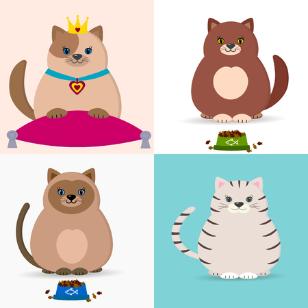 Cats with a plate and cat food. Cats-princesses with a crown and a suspension bracket, sit on a pillow. Illustration