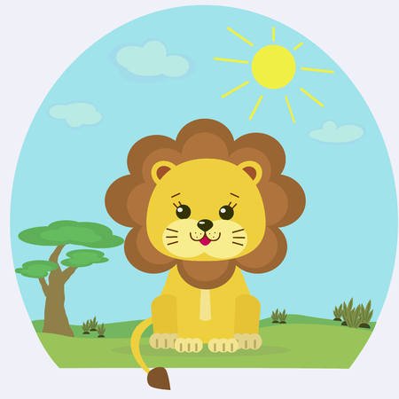 lion tail: Cute baby lion in a cartoon style on a nature background of the savannah.