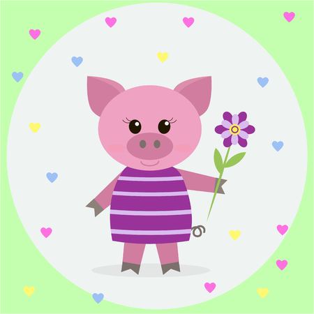 ruddy: Nice pink pig in a striped dress and a flower on a background of hearts.