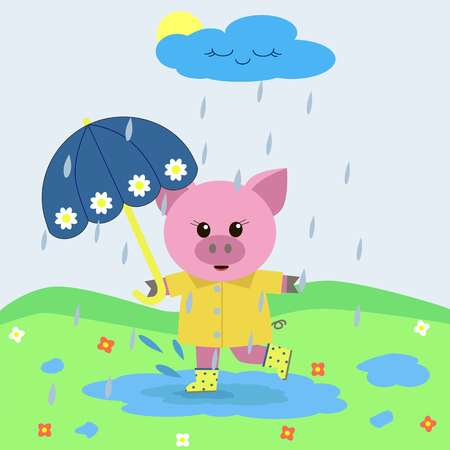 Sweet pink pig with an umbrella, in a raincoat and boots, jumps in puddles in the rain.