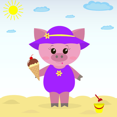 Cute piggy on the beach wearing a hat, bathing suit and ice cream in a cartoon style.  Illustration of a cute piggy on the beach with ice cream.