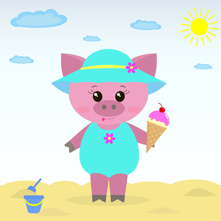 ruddy: Cute piggy on the beach wearing a hat, bathing suit and ice cream in a cartoon style.  Illustration of a cute piggy on the beach with ice cream.