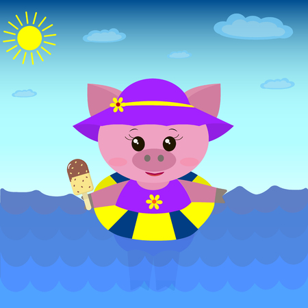 ruddy: A cute pig in a swimsuit and hat floats in the sea with a circle and ice cream in a cartoon style.  Illustration of a cute pig in the sea with ice cream.