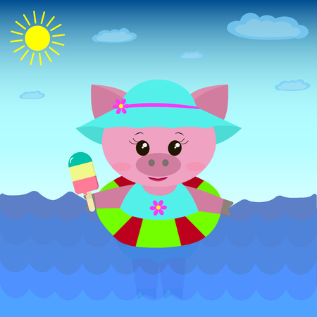 A cute pig in a swimsuit and hat floats in the sea with a circle and ice cream in a cartoon style.  Illustration of a cute pig in the sea with ice cream.