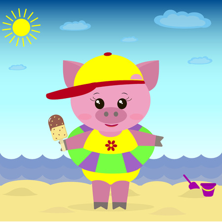 swimming cap: A sweet guinea pig on the beach with a hat, a bathing suit, a circle and ice cream in a cartoon style.Illustration of a cute piggy on the beach with ice cream.