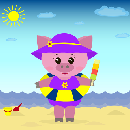 A sweet guinea pig on the beach with a hat, a bathing suit, a circle and ice cream in a cartoon style.Illustration of a cute piggy on the beach with ice cream.