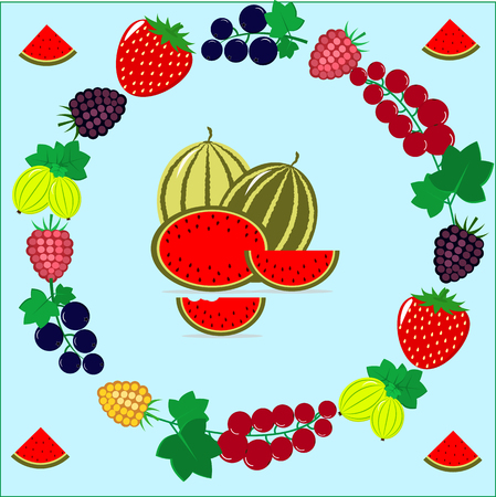 Delicious and sweet berries collected in a composition in a circle.