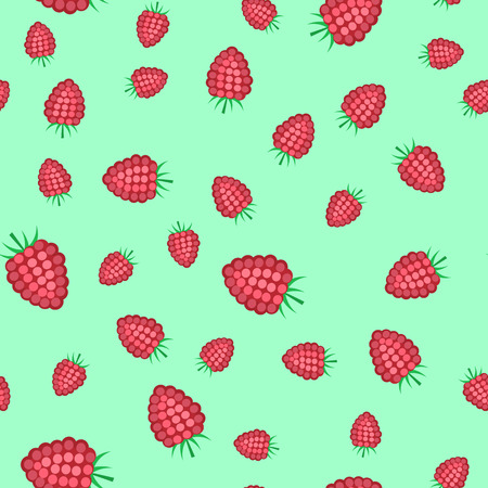 Seamless pattern from a pink raspberry on a light background. Illustration