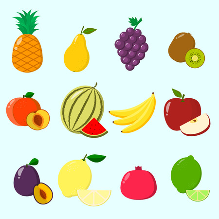 Fruit juicy and ripe collected in a set of icons. Fruits, a set of icons.