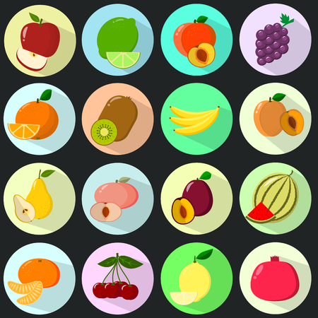 Icons of different fruits, placed in colored circles with a shadow, collected in a set on a dark background. Ilustracja