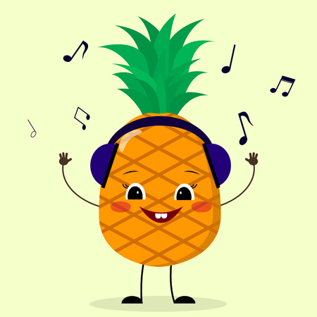Pineapple Smiley in headphones listens to music in a cartoon style.
