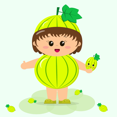 A sweet kid in a gooseberry dress, painted in cartoon style.