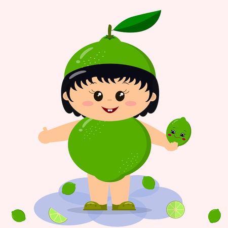 A cute kid in a lime costume, painted in cartoon style. Illustration