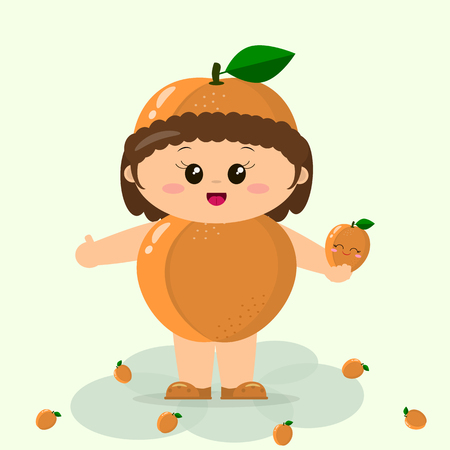 smiley: Cute kid in a suit of apricot, painted in cartoon style. Illustration