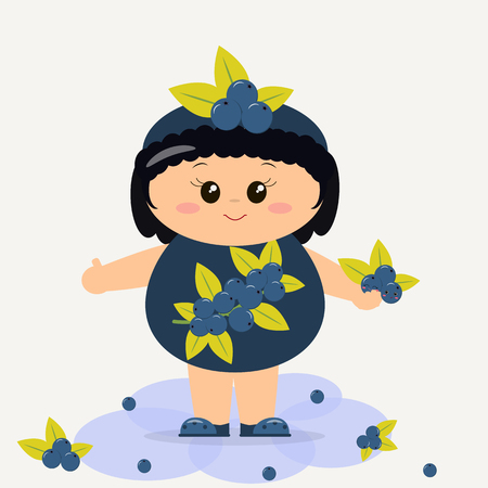 smiley: Cute kid in blueberry costume, painted in cartoon style.