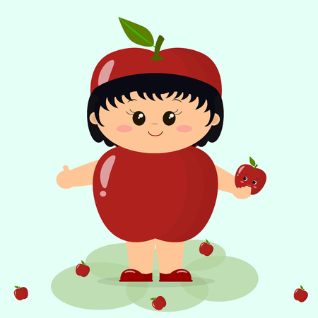 smiley: Cute kid in a red apple costume, painted in cartoon style.