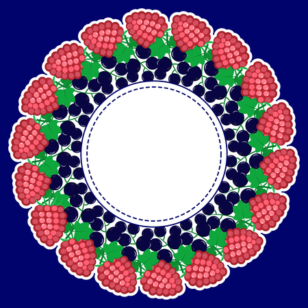 Round frame, made of ripe berries in a white stroke on a dark background, with a place for text in the center.