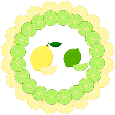 Juicy slices of lemon and lime in a round frame.