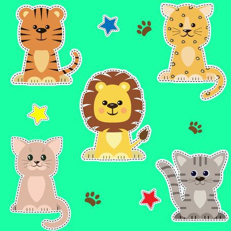 Set of different kinds of cats stickers. Illustration