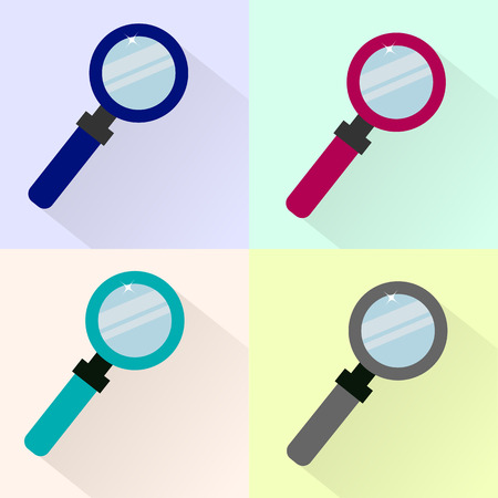 Set of colored magnifier icons.