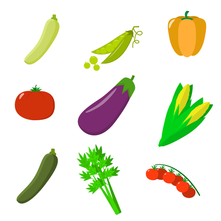 Vector vegetables icons set in cartoon style. Collection farm product for restaurant menu, market label. Flat design.