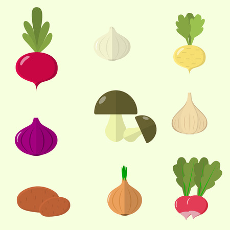 turnip: Vector vegetables icons set in cartoon style. Collection farm product for restaurant menu, market label. Flat design. Illustration