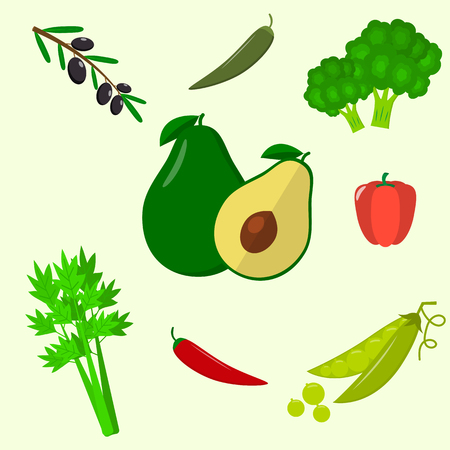 Vector vegetables icons set in cartoon style. Collection farm product for restaurant menu, market label. Flat design. Illustration