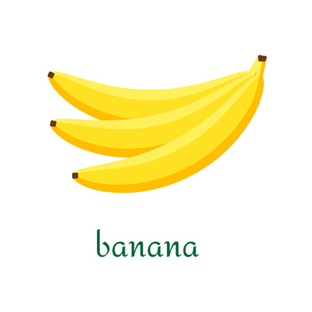 Banana icon in flat style. Isolated object, logo. Fruit from the farm. Organic food. Vector illustration.