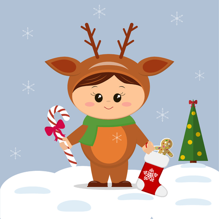 Cute kid in a Christmas deer costume in cartoon style with gifts, a boot with lollipops and cookies next to the Christmas tree. On the background of snowflakes in the New Year carnival. Vector illustration of web design holiday templates for banner, poster, greeting card.
