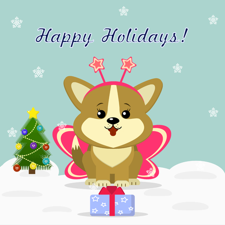 Christmas card with cute puppy Corgi in butterfly costume, sitting next to a decorated Christmas tree and a gift box against the background of snowflakes.