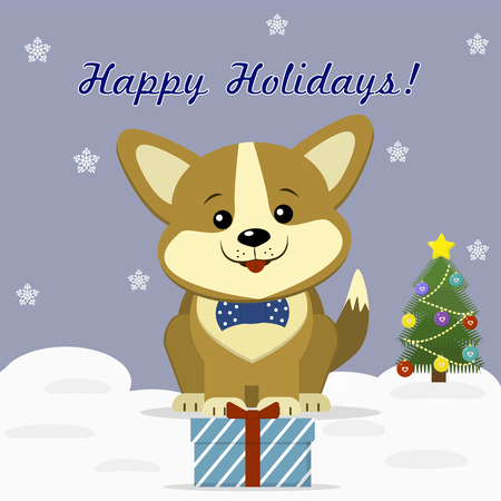 Christmas card with a cute dog Corgi in a bow tie, sitting next to a decorated Christmas tree and a gift box against the background of snowflakes. Illustration