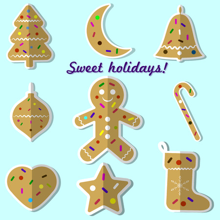 Gingerbread cookie Christmas set of vector illustrations. Illustration