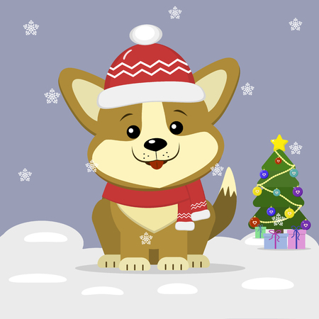 New Years card, cartoon dog corgi, a hat and a hat, decorated with a Christmas tree, in the winter against a background of snowflakes. Flat design, vector illustration Christmas icon.
