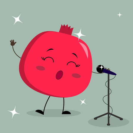 Cute Garnet Smiley in a cartoon style sings into the microphone. Flat design vector illustration.