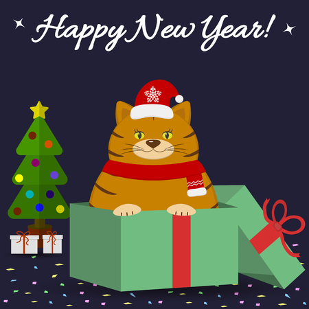 Postcard with a cute red cat in a Santa hat and scarf, sits in a gift box with confetti, next to a Christmas tree on a dark background.
