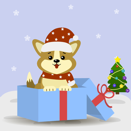 Postcard with cute dog corgi in Santa hat and scarf, sits in a gift box next to the Christmas tree.