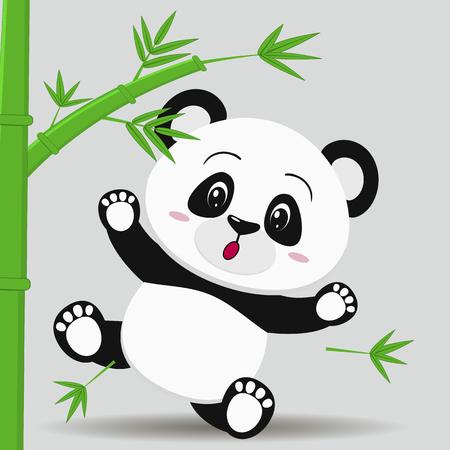 La ilustración de un panda lindo, cae de un bambú, en un estilo de la historieta, contra un fondo ligero. Ilustración vectorial, un diseño plano.