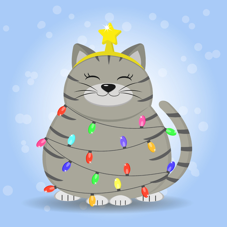 A gray-haired gray cat in a strip is sitting, a star on his head is dressed in a garland from a Christmas tree.