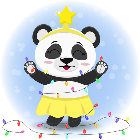 Panda in a yellow skirt and a star on his head is standing and holding a Christmas tree garland.