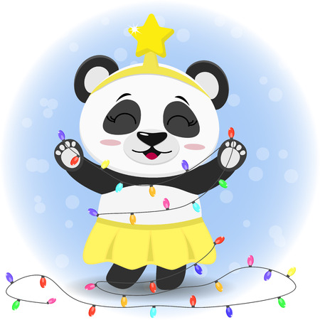 Illustration of a cute panda in a yellow skirt and a star on her head, holding a Christmas tree garland in her paws. Flat design, vector illustration.