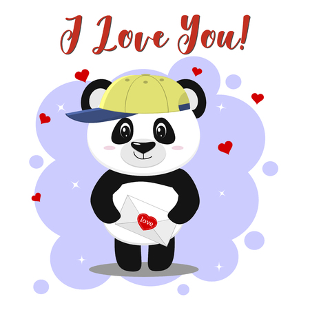 The panda in the baseball cap stands and holds a letter with a heart in its paws, in the style of cartoons.