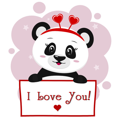 Panda with a red rim of hearts holding a plate in the paws, in the style of cartoons.
