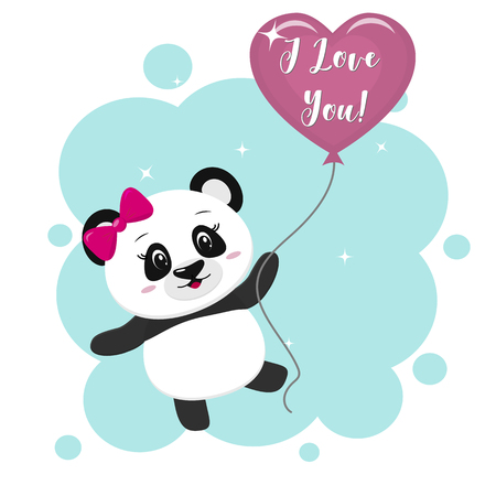 Illustration of a cute panda with a bow holding in the paws a pink ball in cartoon style. 矢量图像