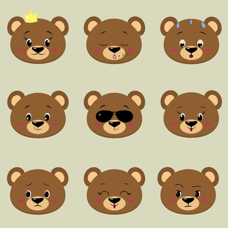 Set of cute bear face different emotions in cartoon style. Stock Vector - 93885739