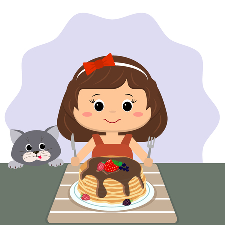 The girl is sitting at the table eating pancakes, the cat is near. Иллюстрация