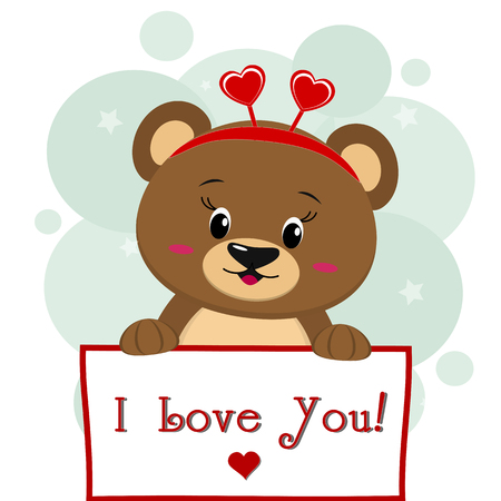 A cute brown bear with a rim of hearts holds a sign in his paws, the inscription I love you, a cartoon. Valentines Day. Vector, flat design.