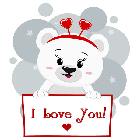 A cute polar bear with a rim of hearts holds a sign in his paws, the inscription I love you, a cartoon. Valentines Day. Vector, flat design.