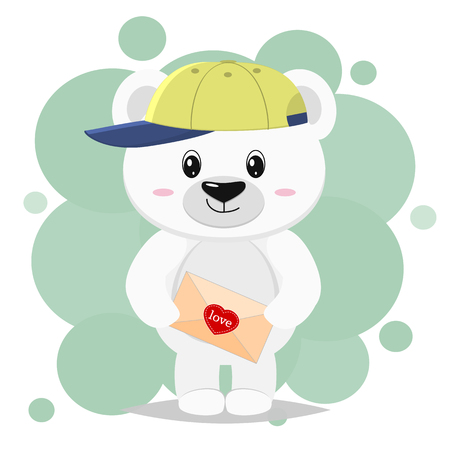Cute polar bear in a baseball cap, stands and holds a paw with a heart, in a cartoon style. Valentines Day. Vector, flat design. Illustration