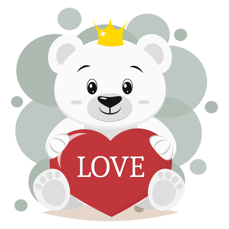 Cute polar bear in the crown, sits and holds in the paws a red heart with the inscription love, cartoon. Valentines Day. Vector, a flat design.