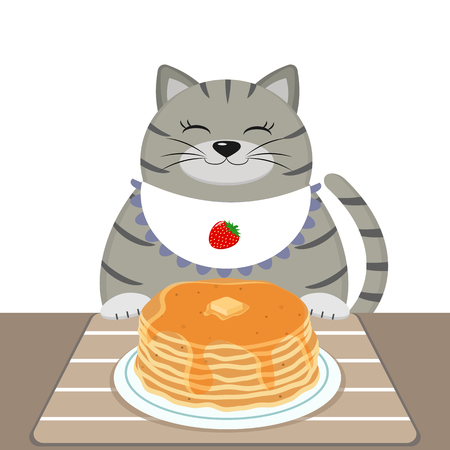 A gray fat cat in a bib also sits at a table and eats pancakes. Vectores